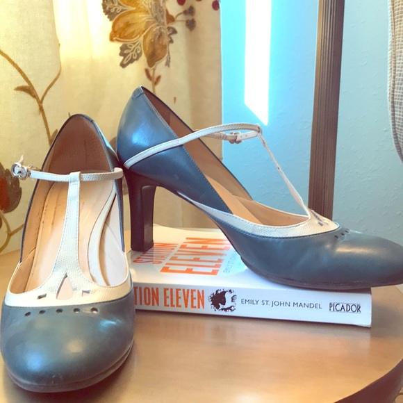 LOFT Shoes - Teal and cream t-strap pumps with 3-inch heel.